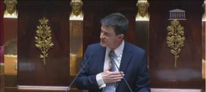 Manuel Valls pendant son discours de politique générale, mardi 8 Avril