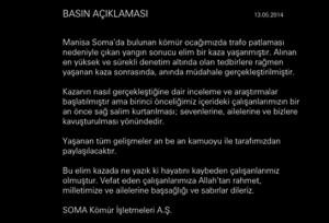 Message apparaissant sur la site internet de la compagnie SOMA depuis l'annonce de l'accident.