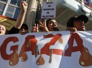 Photographie prise dans une manifestation à Lille contre l'offensive israélienne