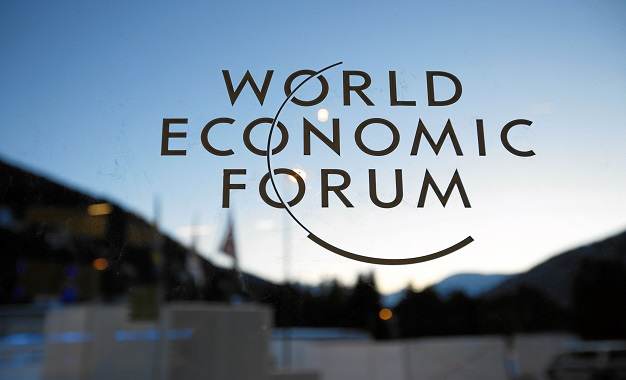 DAVOS/SWITZERLAND, 23JAN11 - The WEF logo is seen on a window at the congress center during preparations for the upcoming Annual Meeting 2011 of the World Economic Forum in Davos, Switzerland, January 23, 2011. Copyright by World Economic Forum swiss-image.ch/Photo by Jolanda Flubacher
