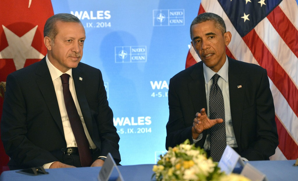 President Barack Obama hosts a meeting with President of Turkey Recep Tayyip Erdoğan during the NATO summit held in Newport, Wales, September 5, 2014. Secretary of Defense Chuck Hagel, attended the meeting (not pictured). DoD Photo by Glenn Fawcett (Released)