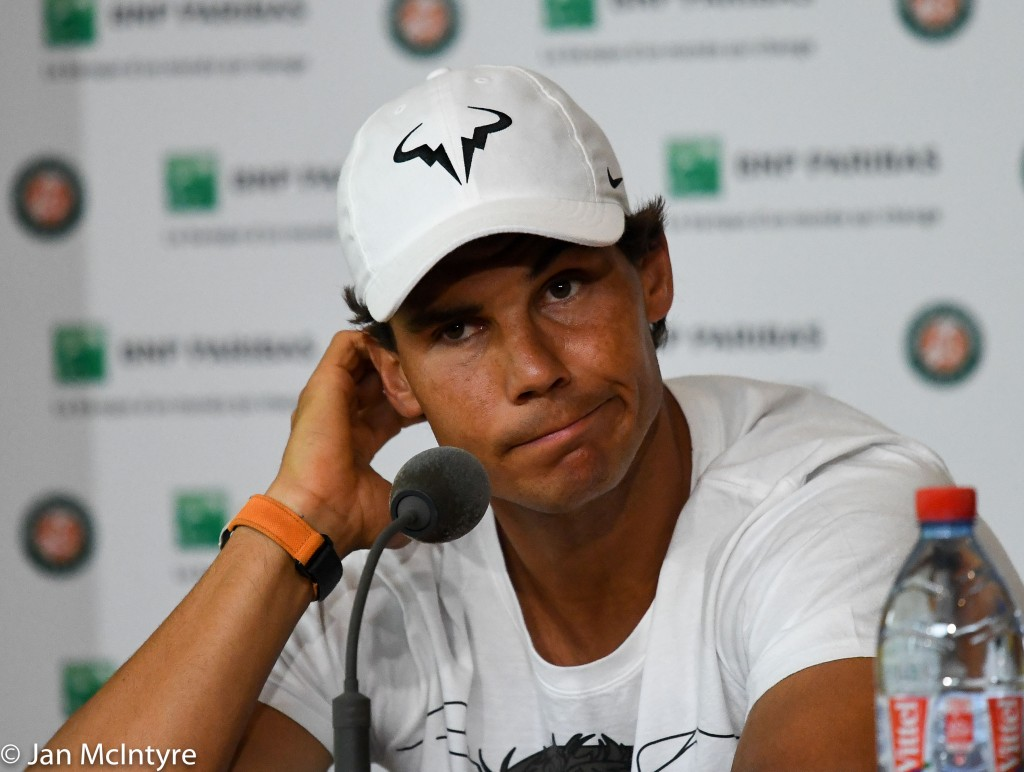 May 27, 2016 Roland Garros, Paris, France - Rafael Nadal announces his withdrawal from the French Open due to a left wrist injury.