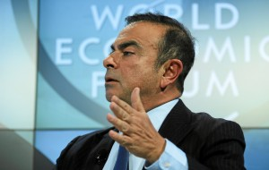 DAVOS/SWITZERLAND, 25JAN13 - Carlos Ghosn (L),Chairman and Chief Executive Officer, Renault-Nissan Alliance, France; World Economic Forum Foundation Board Member speaks during the session 'Emerging Economies at a Crossroads' at the Annual Meeting 2013 of the World Economic Forum in Davos, Switzerland, January 25, 2013.  Copyright by World Economic Forum swiss-image.ch/Photo Remy Steinegger