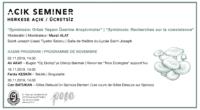 """AÇIK SEMİNER """"Symbiosis : Recherches sur la coexistence"""" Programme de séminaire Lycée français privé Saint-Joseph d'Istanbul, Salle de théâtre Novembre 2019 – Juin 2020 Par intervalles de deux semaines, les […]"""
